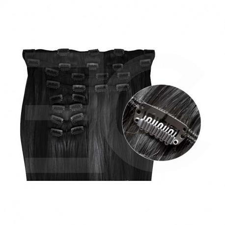 Extensions de cheveux à clips synthétiques noir extra volume 50 cm