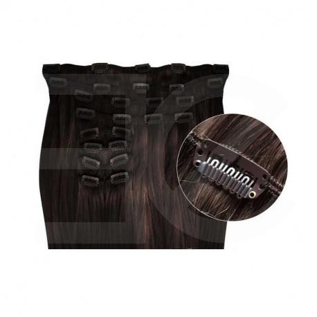 Extensions de cheveux à clips synthétiques châtain foncé extra volume 50 cm