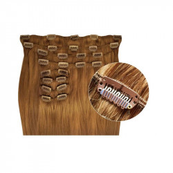 Extensions de cheveux à clips synthétiques blond doré extra volume 50 cm