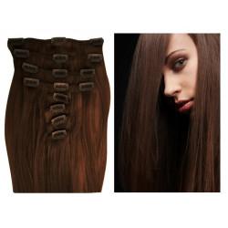 Extensions à clips chocolat cheveux raides 53 cm