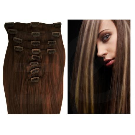 Extensions à clips chocolat méché blond clair cheveux raides 53 cm