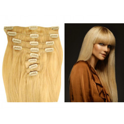 Extensions à clips blondes cheveux raides 53 cm