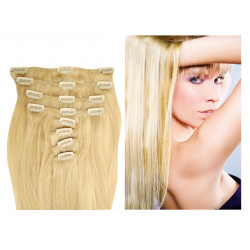 Extensions à clips blond clair cheveux raides 53 cm