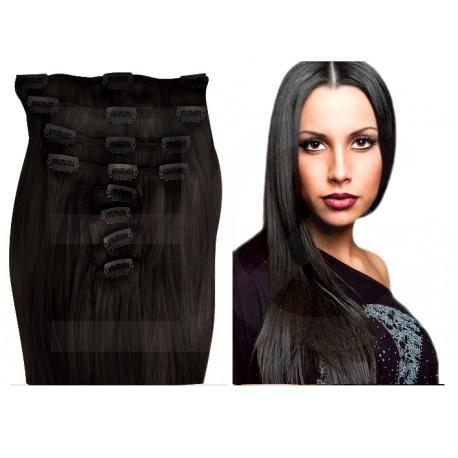 Extensions à clips brunes cheveux raides 63 cm
