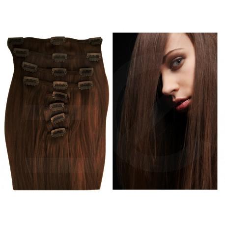 Extensions à clips chocolat cheveux raides 63 cm