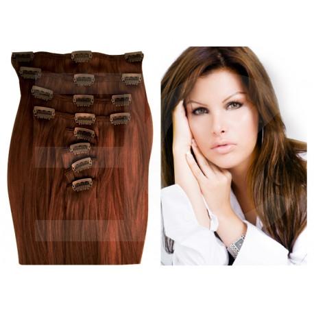 Extensions à clips châtain cheveux raides 73 cm