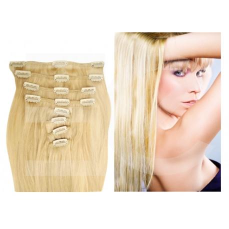 Extensions à clips blond clair cheveux raides 73 cm