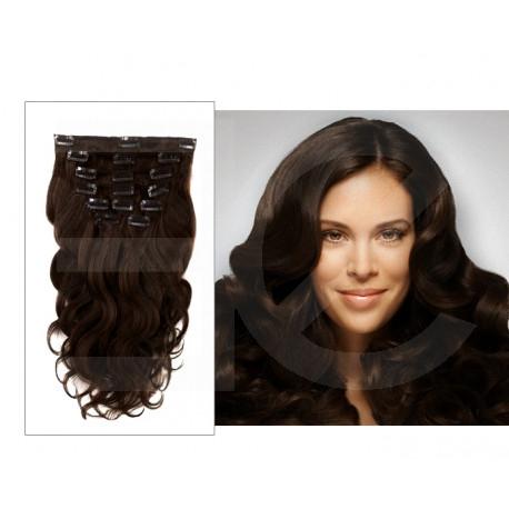 Extensions à clips châtain foncé cheveux bouclés 63 cm