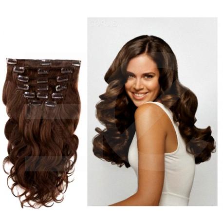 Extensions à clips chocolat cheveux bouclés 63 cm