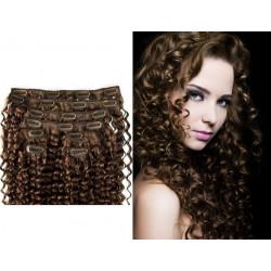 Extensions à clips châtain cheveux frisés 53 cm