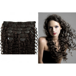 Extensions à clips brunes cheveux frisés 63 cm
