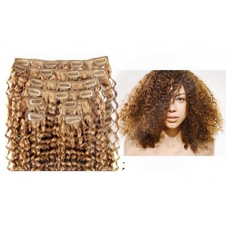 Extensions à clips blond doré cheveux frisés 63 cm