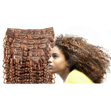 Extensions à clips châtain clair cheveux frisés 63 cm