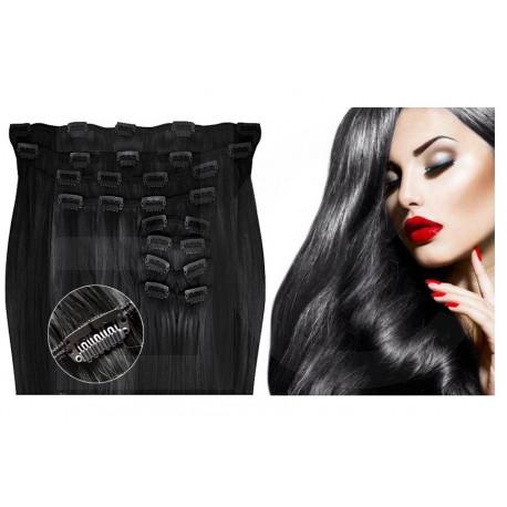 Extensions à clips noires volume luxe 180 Gr. Cheveux raides 53 cm