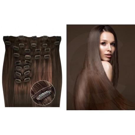 Extensions à clips châtain volume luxe 180 Gr. Cheveux raides 53 cm