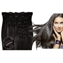 Extensions à clips brunes volume luxe 180 Gr. Cheveux raides 63 cm