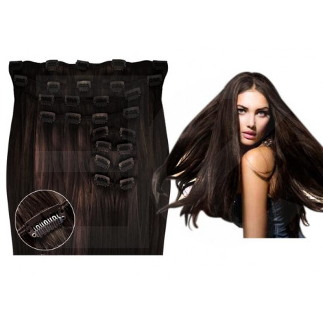 Extensions à clips châtain foncé volume luxe 180 Gr. Cheveux raides 63 cm