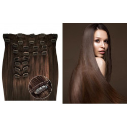 Kit extension de cheveux à clips naturel châtain 6 luxe 100% volume 180 Gr. 63 cm