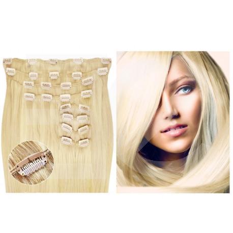 Extensions à clips blond clair volume luxe 180 Gr. Cheveux raides 63 cm