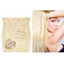 Extensions à clips blond platine volume luxe 180 Gr. Cheveux raides 63 cm