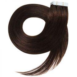 Extensions adhésives / Tape châtain foncé n°2 cheveux 100% naturels 73 cm