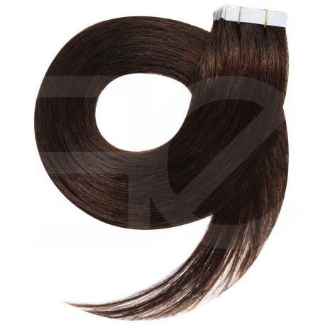 Extensions adhésives châtain foncé cheveux raides 73 cm