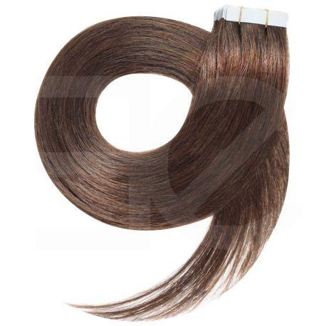 Extensions adhésives châtain noisette cheveux raides 50 cm