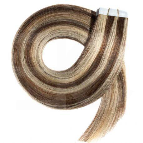 Extensions n°4.613 (chocolat méché blond clair) cheveux 100% naturels adhésives / Tape 50 cm