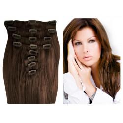 Extensions n°8 (chatain) cheveux 100% naturels à clips 63 cm
