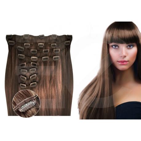 Extensions à clips châtain noisette volume luxe 180 Gr. Cheveux raides 53 cm