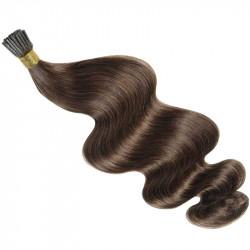Extensions n°8 (chatain) cheveux 100% naturels à froid 50 cm Bouclé/ondulé
