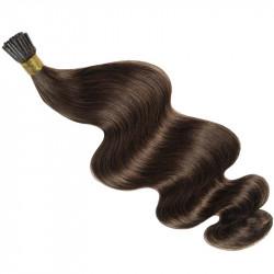 Extensions n°4 (chocolat) cheveux 100% naturels à froid 63 cm Bouclé/ondulé