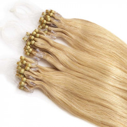 Extensions à loops blondes cheveux raides 48 cm