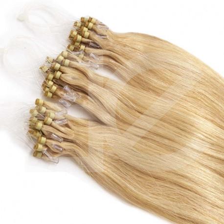Extensions à loops blondes cheveux raides 48 cm