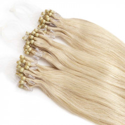 Extensions à loops blond platine cheveux raides 48 cm