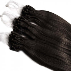 Extensions à loops brunes cheveux raides 48 cm