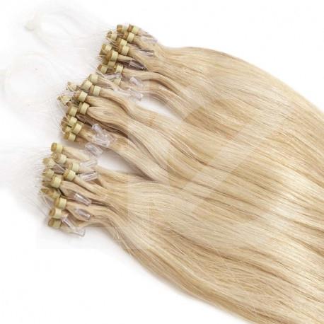 Extensions à loops blond clair cheveux raides 61 cm