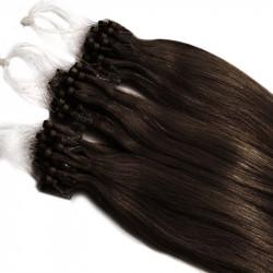 Extension cheveu naturel châtain foncé n°2 loop 48 cm 1 Gr