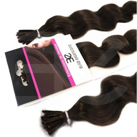 Extensions à froid châtain foncé cheveux frisés 60 cm