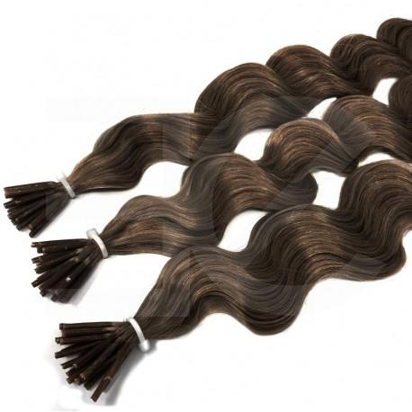 Extensions à froid châtain cheveux frisés 50 cm