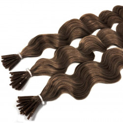 Extensions à froid châtain noisette cheveux frisés 50 cm