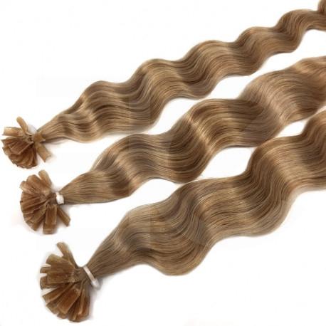 Extensions n°14 (Blond doré) cheveux 100% naturels à chaud 50 cm Bouclé/ondulé
