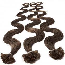 Extensions n°8 (chatain) cheveux 100% naturels à chaud 50 cm Bouclé/ondulé