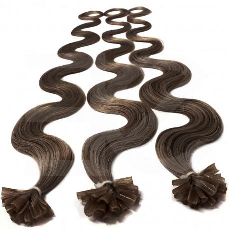 Extensions n°8 (chatain) cheveux 100% naturels à chaud 63 cm Bouclé/ondulé