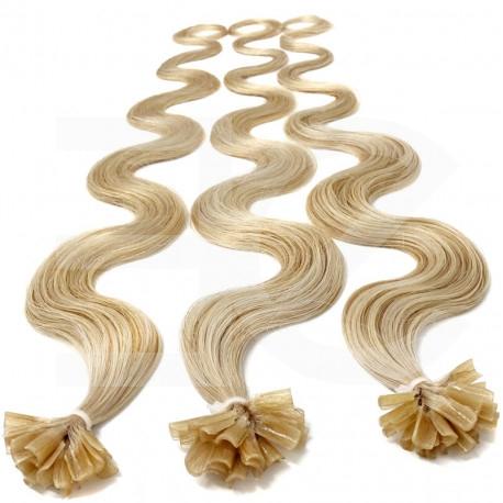 Extensions à chaud blond clair cheveux bouclés 63 cm