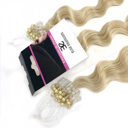 Extension cheveu loop frisé n°613 (blond clair) 100% naturel 61 cm