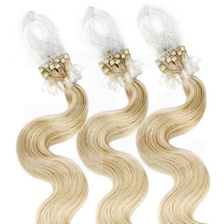 Extensions à loops blond clair cheveux bouclées 61 cm