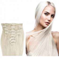 Extensions à clips blond polaire cheveux raides 53 cm