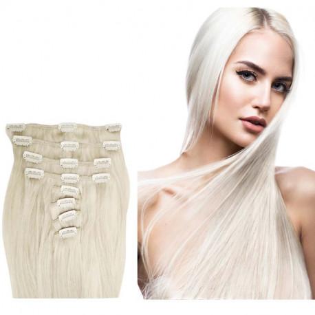 Extensions à clips blond polaire cheveux raides 53 cm