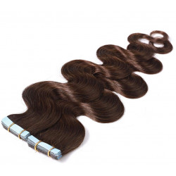Extensions adhésives chocolat cheveux ondulés 48 cm